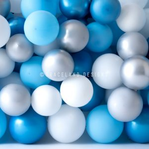 Blue and Grey Balloon Stack by P'tit Lou Designs