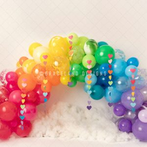 Rainbow Balloons and Hearts By Honey Pie